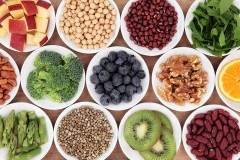 a selection of health foods in white bowls